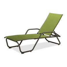 Gardenella Sling 4-Position Chaise, Textured Beachwood, Lime