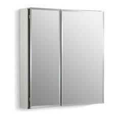 """Kohler 25"""" W X 26"""" H Aluminum 2-Door Medicine Cabinet with Mirrored Doors"""