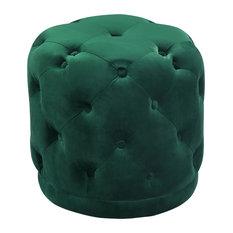 Emerald Green Art Deco Style Velvet Ottoman Footstool With Nordic Dark Wood Legs