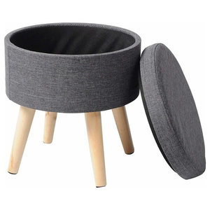 Round Ottoman Bench, Wooden Legs and Foam Padded Seat, Light Grey