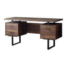 Monarch Computer Desk 60 Brown Wood Grain Black Metal Desks And