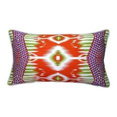 Electric Ikat 15x27 Throw Pillow, Orange