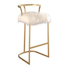 Brittney Faux Fur Bar Stool, Gold