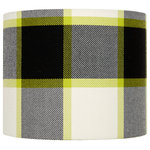 Adriana Homewares - Rievaulx Monochrome Lampshade, Medium - The bold Rievaulx Monochrome Lampshade creates in medium creates a sophisticated atmosphere in a contemporary living space. Featuring a touch of lime green, this lampshade is a stylish statement piece. This shade is made of British Bluefaced Leicester wool backed with a crystal-clear PVC inner. Adriana Homewares designs and manufactures luxurious handmade fabrics in their Yorkshire studio.