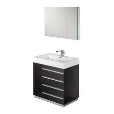 "Fresca Livello 30"" Black Modern Bathroom Vanity With Medicine Cabinet"