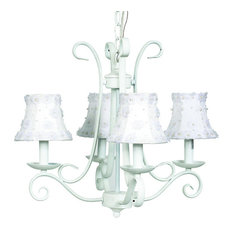 4-Arm White Harp Chandelier With Petal Shades