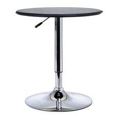 HomCom Modern Pub Style Adjustable Vinyl Covered Bar Table With Swivel, Black