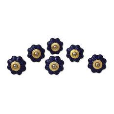 Novica Floral Beauties, Indigo Ceramic Cabinet Knobs, Set of 6