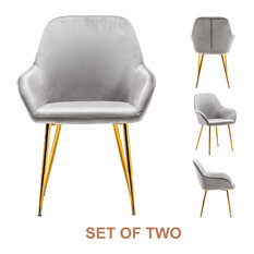 Metallic Gray Bucket Upholstered Dining Chairs Set Of 2