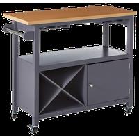 Halpin Portable Kitchen Island Serving Cart With Storage Cabinet & Wine Rack