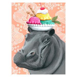 Modern Hippo Art Hippopotamus Photo Artwork Dramatic Nature Images on Metal