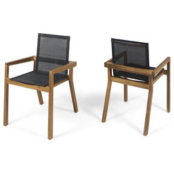 Midcentury Outdoor Dining Chairs by GDFStudio