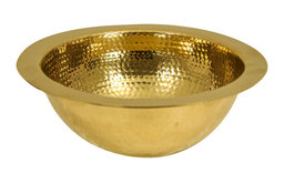 "Nantucket Sinks 13"" Hand Hammered Brass Round Undermount Bar Room Sink"