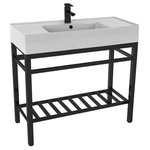 """Scarabeo - Modern Ceramic Console Sink With Counter Space and Matte Black Base, One Hole - This console bathroom sink is a perfect center piece for the modern style bathroom. Featuring a lower towel rack, this console stand is a perfect solution to keep your towels and other accessories tidy. Console stand is made of heavy duty stainless steel in a matte black finish. Beautiful 40"""" x 18.2"""" white ceramic sink with counter space on both side of the basin."""