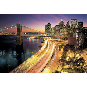 New York City Lights Skyline Photo Wall Mural, 368x254 cm