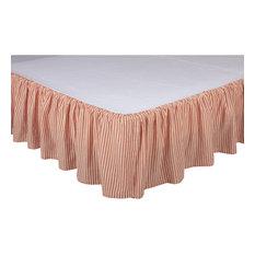 Sawyer Mill Red Ticking Stripe King Bed Skirt 78x80x16