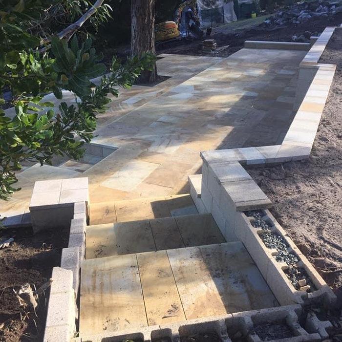 Sandstone Paving, Retaining Wall / Bicheno