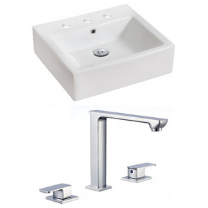 "21"" Above Counter White Vessel Set for 3 Hole 8"" Center Faucet"