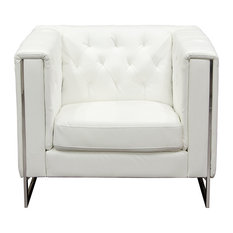 Diamond Sofa - Chelsea Leatherette Chair With Metal Leg, White - Armchairs and Accent Chairs
