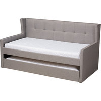 Modern and Contemporary Grey Fabric Upholstered Twin Size Daybed With Trundle