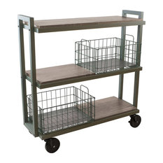 Atlantic Inc Urb Space 3 Shelf Mobile Bookcase in Green and Gray