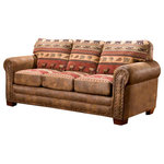 American Furniture Classics - Sierra Lodge, Sleeper Sofa - Lodge-inspired, this mix of solid microfiber and printed-tapestry upholstery pairs beautifully with nailhead accents for a rustic appeal in this sleeper sofa. The solid-wood frame is durable and strong.  Soft, yet supportive cushions are filled with high-density foam and a layer of fiber wrap.  This sleeper sofa features a Leggett & Platt mechanism and an inner spring, quilted top queen mattress.