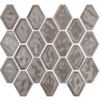 "12""x12"" Glazed Ceramic Diamond Mosaic Tile, Taupe"