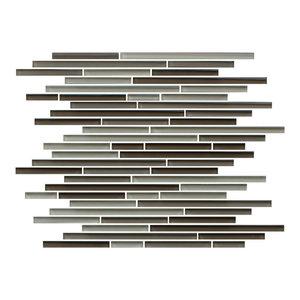 Santa Rosa Brown Beige Taupe Random Strip Glass Mosaic Tiles-Kitchen Backsplash