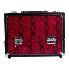 Red Snakeskin 7 Compartment Makeup Organizer