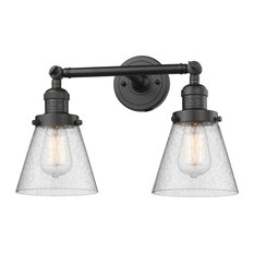 Small Cone 2-Light LED Bath Fixture, Oil Rubbed Bronze, Glass: Seedy