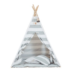 Grattify - Monochrome Stripes Teepee, Floor Mat Included - Children's Toys & Games