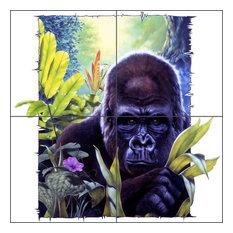 "Ceramic Tile Mural Backsplash King Kong by Bruce Eagle, 12""x12"", 6"" Tiles"