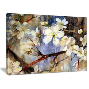 """""""White Spring Flowers"""" Floral Canvas Print, 40""""x30"""""""