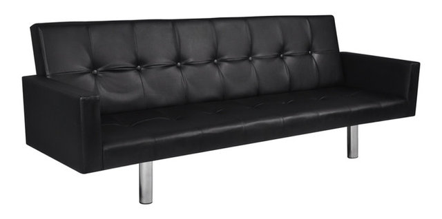 High Quality Artificial Leather Sofa Bed With Armrests Black