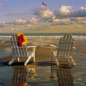 """""""York Beach, Maine, Adirondack Charis and Beach"""" Print, 24""""x36"""""""