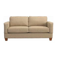 Raleigh Quick Assembly Two Seat Oak Leg Sofa, Buff