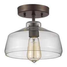 ChloeLighting - Ironclad 1-Light Semi-Flush Ceiling Fixture With Glass,  Rubbed Bronze