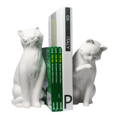 Danya B - 2-Piece Cat Bookend Set, White - Bookends