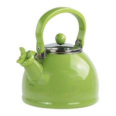 2.2-Quart Enamel Whistling Teakettle With Glass Lid, Lime