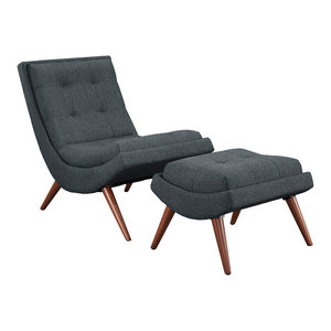 Ramp 2-Piece Upholstered Fabric Lounge Chair Set, Gray
