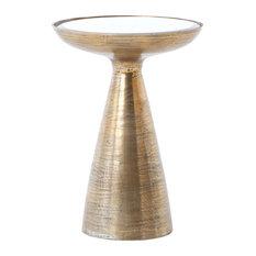 Marlow Mod Pedestal Table, Brushed Brass