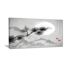 """Pine Tree Branch"" Japanese Canvas Art Print, 32""x16"""