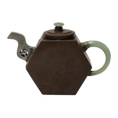 Chinese Zisha Jade Stone Handle Teapot Display Art Hcs3832