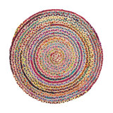 Rainbow Braided Round Rug, Medium With jute