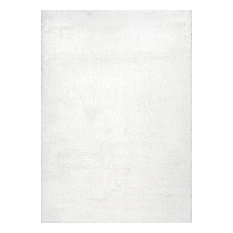 """Soft and Plush Cloudy Solid Shag Rug, Snow White, 9'2""""x12'"""