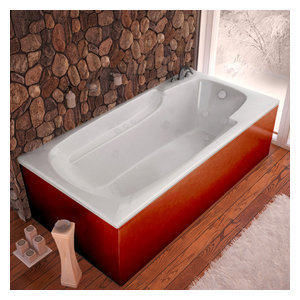 "Venzi Aesis 36""x72"" Rectangular Air and Whirlpool Jetted Bathtub, Right Drain"