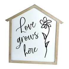 "Metal and Wood Sign ""Love Grows"""
