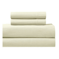 Heavyweight 100% Cotton Flannel Sheet Set With Deep Pockets, Ivory, King