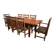Crafters and Weavers - Arts and Crafts Oak Dining Table With 2 Leaves and 8 Dining Chairs, 9-Piece Set - Dining Sets
