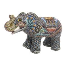 Vibrant Elephant Polymer Clay Sculpture